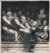 Daumier - discussion litteraire dans la deuxième gallérie